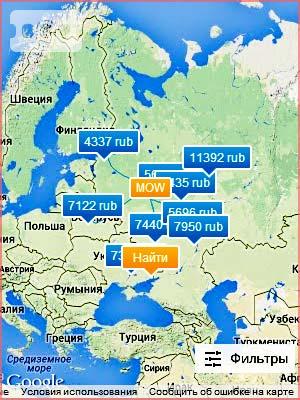Карта очень дешевых авиабилетов