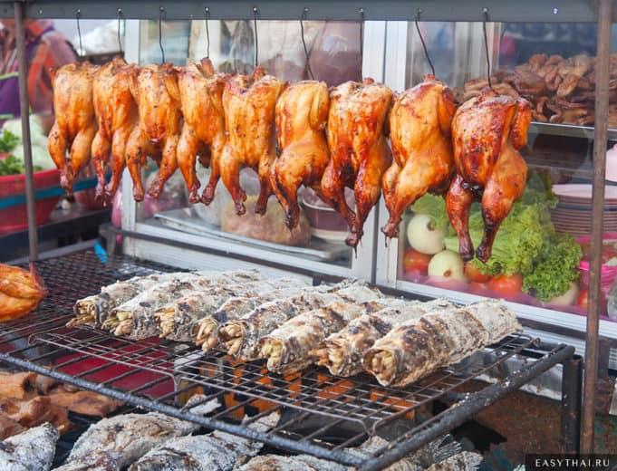 Цыпленок и рыба гриль