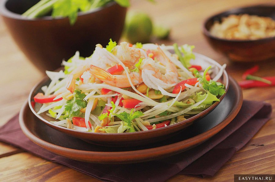 Острый салат из папайи Сом Там
