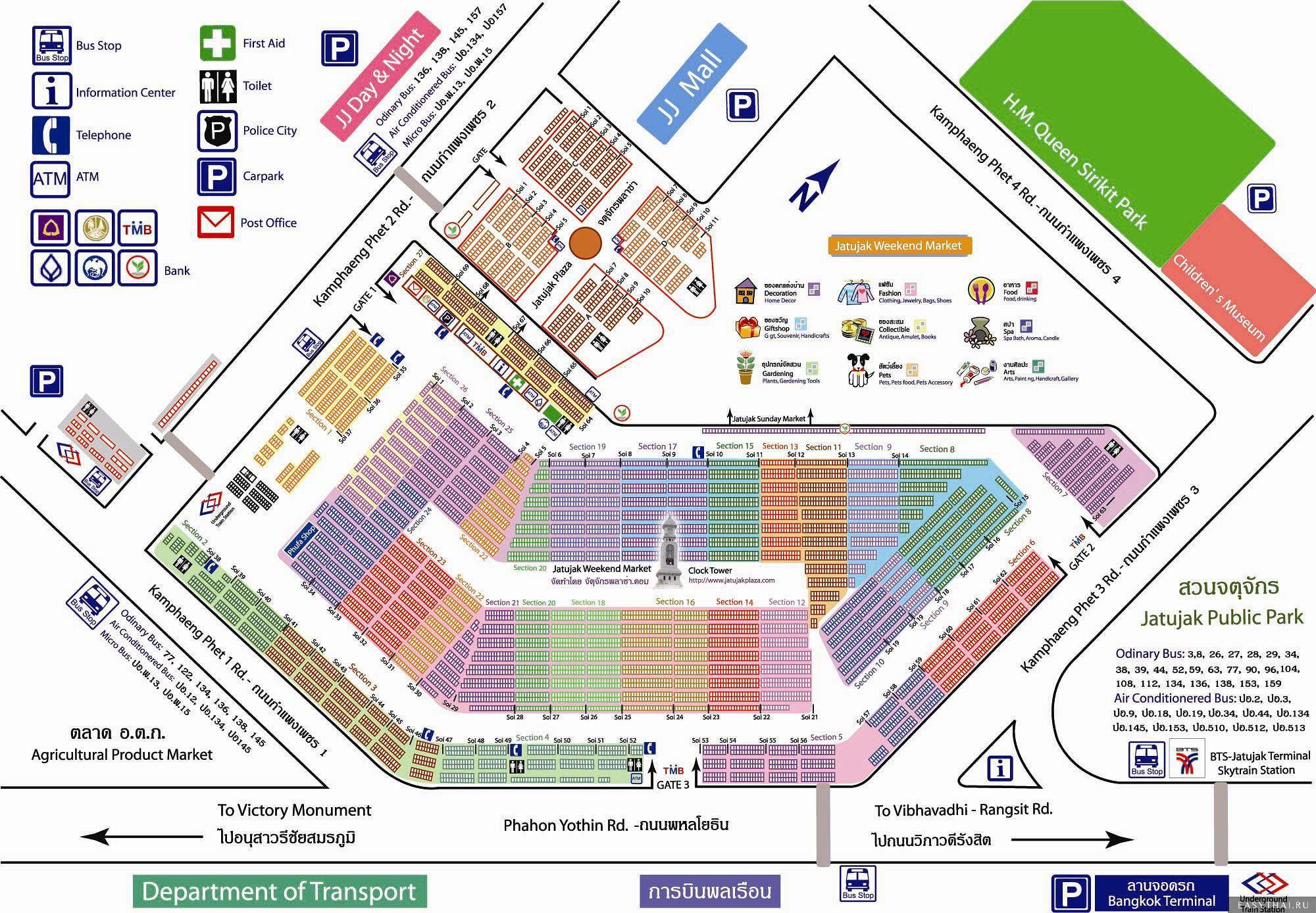 Карта рынка Чатучак